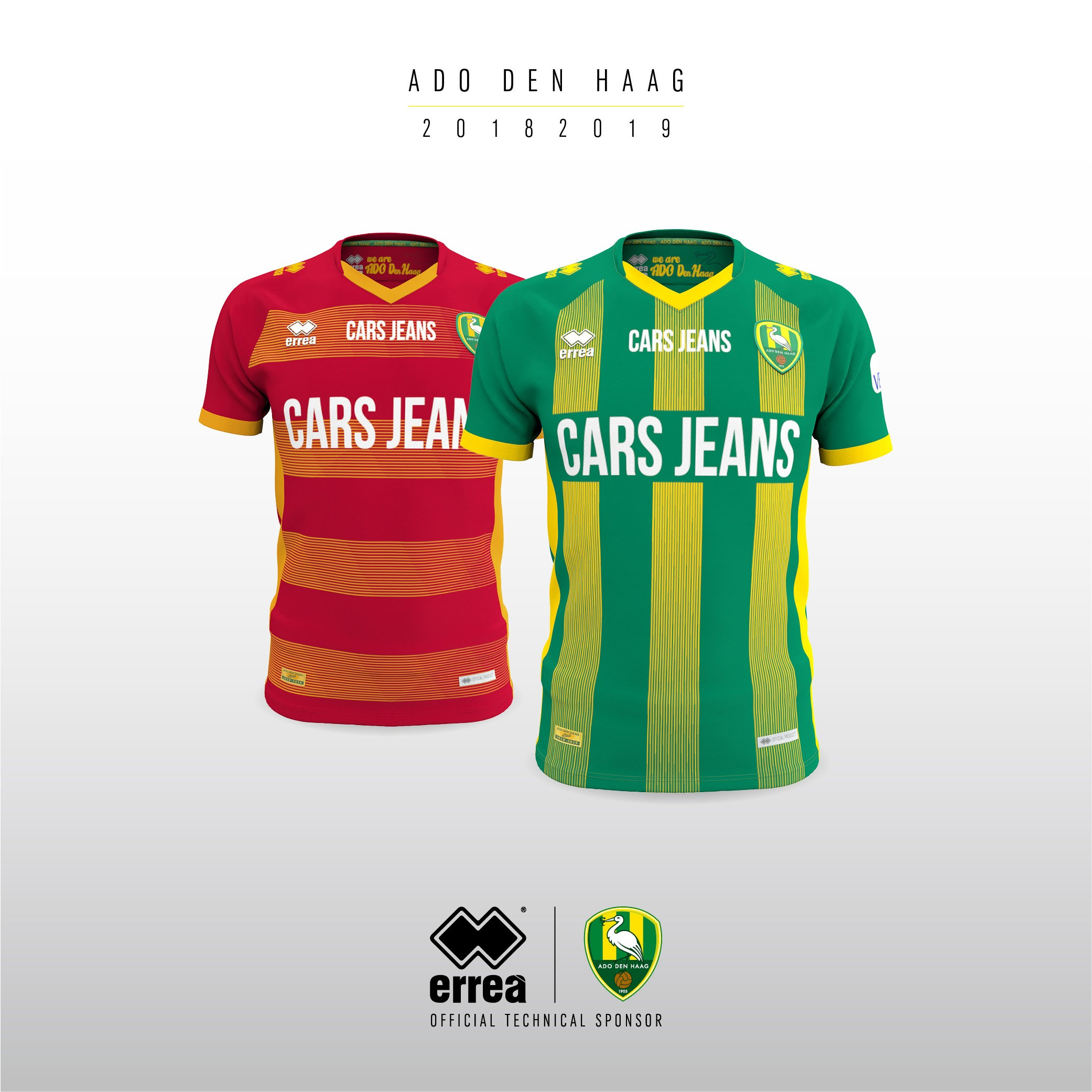 ADO Den Haag unveil their new kits created for the forthcoming 2018-2019 season by Erreà Sport