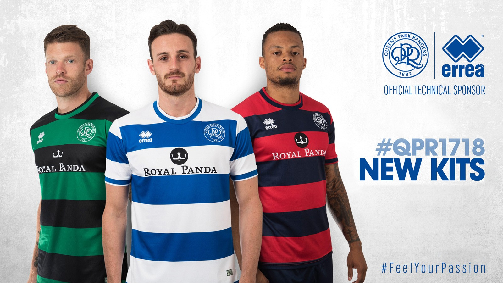 Erreà and Queens Park Rangers FC present the new kits for the coming season 2017-2018