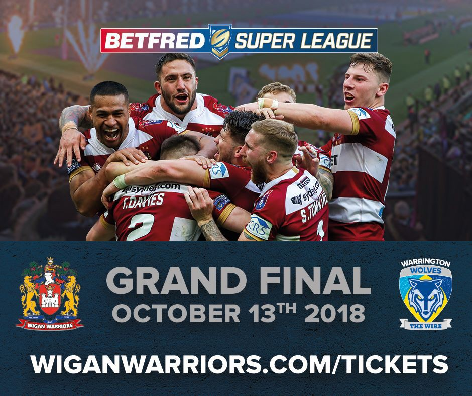 On Saturday 13 October, the Wigan Warriors will play their third Grand Final at Old Trafford!
