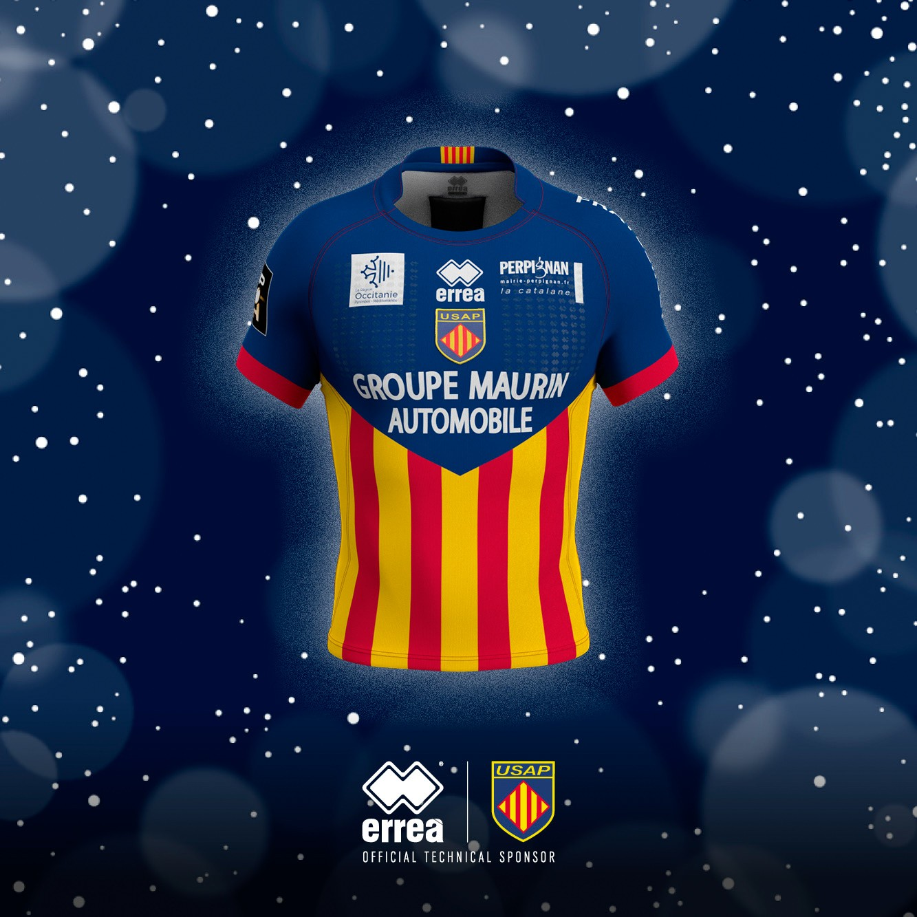 USAP Perpignan's Christmas top sporting the Erreà logo!